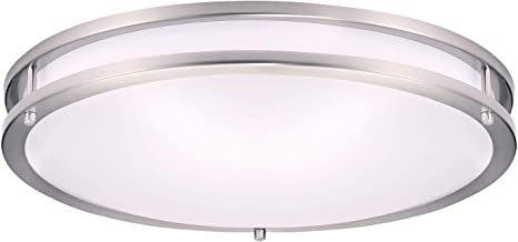 Amazon Com Ostwin 18 Inch Led Flush Mount Ceiling Light Dimmable Round Light Fixture Brushed Nickel Finish Plastic Shade 28 Watts 180w Eq 1960 Lm 5000k Daylight Etl Listed Home Improvement