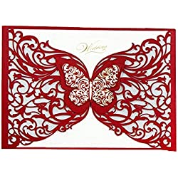 "Graces Dawn 50pcs Laser-cut with Butterfly Hollow Invitations Cards(set of 50pcs) and Blank Cards and Envelopes 5 x 7 1/4"" - Value Pack - Red butterfly"