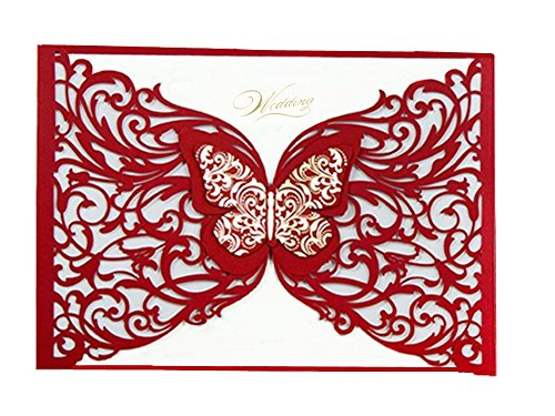 Graces Dawn 50pcs Laser-cut with Butterfly Hollow Invitations Cards(set of 50pcs) and Blank Cards and Envelopes 5 x 7 1/4