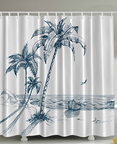 Tropical Island Decor (Nautical Shower Curtain by Ambesonne, Palms Beach Tropical Decor Shadow Wooden Boat Ocean Waves Rocks Desert Island Sketch Pencil Drawing Lovely Aquatic Design Navy Teal Woven Fabric, 69x70 Inch Long)