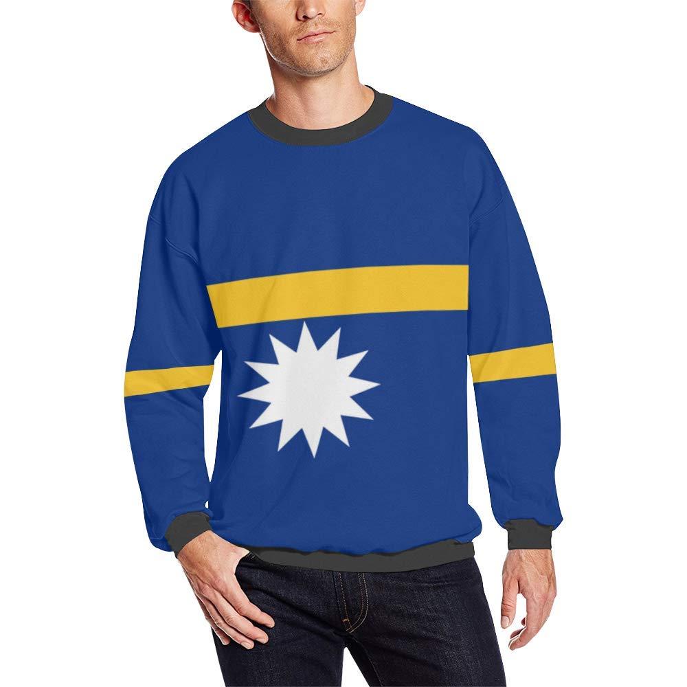 Nauru Flag Mens Fuzzy Pullover Sweatshirt