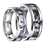 Frank S.Burton His & Hers Tungsten Camo Inlay Wedding Bands Couple Ring Sets Free Engraving (women size 7& men size 9.5)