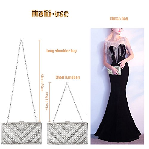 Bags Hard Evening 3 Handbag Silver Clutch Shoulder Bag Metal Frame Rhinestone Woman Case xwYqOvSX