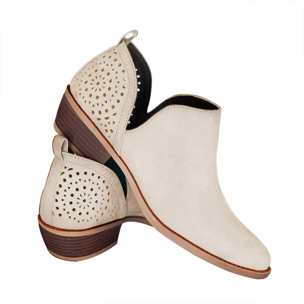 ddaa750860ef8 FIRENGOLI Casual Ankle Boots Cute Slip On Booties Stylish Low Heels  Perforated Boots
