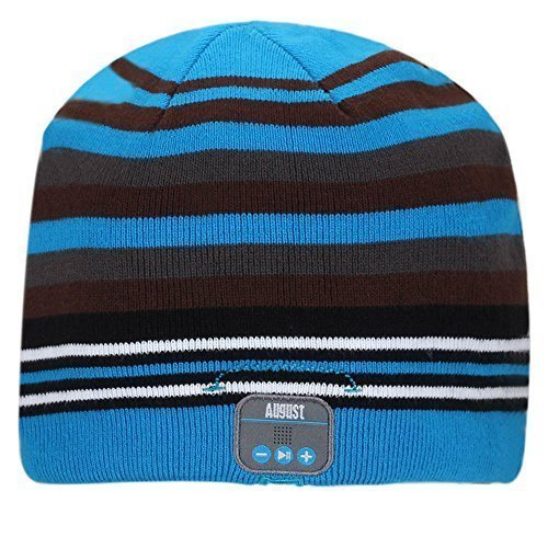 August EPA20 - Bluetooth Cap - Winter Beanie Hat with Bluetooth Stereo Headphones, Microphone, Hands Free System and Rechargeable battery - Compatible with Mobile Phones, iPhone, iPad, Laptops, Tablets, Smartphones (Stripes)