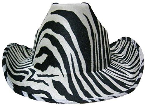 Macho Man Hat (Zebra Print Cowboy Cowgirl Felt Hat)