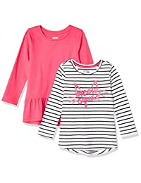 Spotted Zebra Amazon Brand Girl's Toddler & Kids 2-Pack Long-Sleeve Tunic Tops