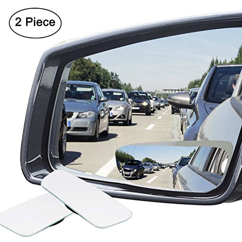 : Ampper Slender Blind Spot Mirrors, Frameless 360 Degree Adjustabe HD Glass Convex Wide Angle Rear View Car SUV Stick On Lens (Pack of 2)