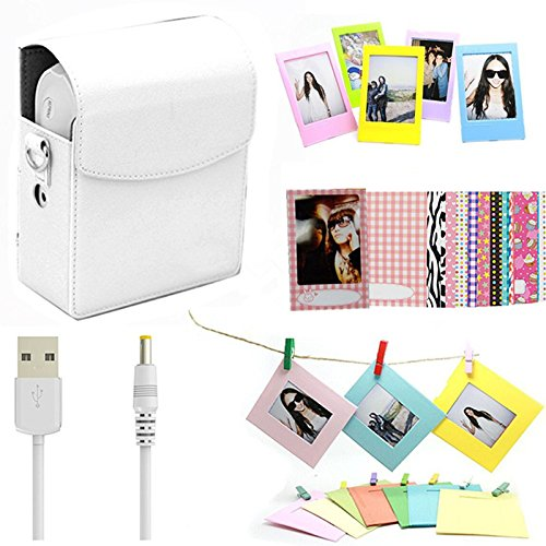Darkhorse 5 In 1 Accessories Bundle Set White Instant Film Printer Sp 1 Case  Usb Power Cable  Wall Hanging Frames   Films Frame   Film Stickers  For Fujifilm Instax Share Sp 1 Smartphone Printer