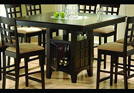 Amazoncom Cappuccino Finish Wine Storage Counter Dining Table