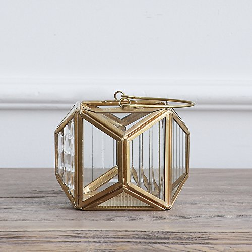 Cyl Home Candle Lanterns Textured Clear Crystal Glass Bronze Brass Frame Hanging Hurricane Tea Light Holder Lamp Polyhedral Centerpiece Decor Accent Gift Wedding, Tea Party, 3.5'' H x 4.3'' D (Lanterns For Candles Brass)