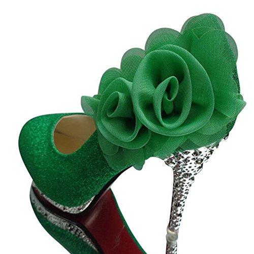 Heeled Women Floriation Agoolar Lucid Pink With 2f Green U5dwd4q6