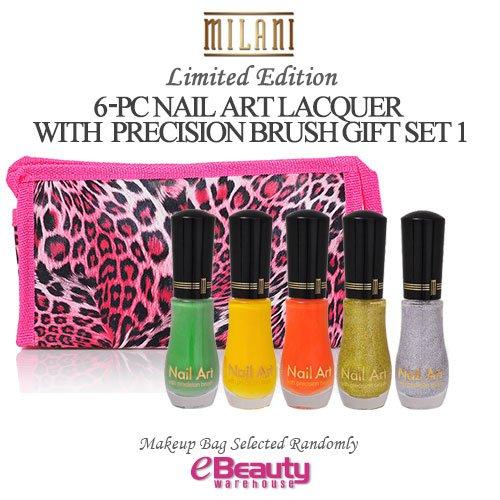 MILANI 6PC GIFT SET- NAIL ART LACQUER with precision brush, Nail Polish Set (SET1)