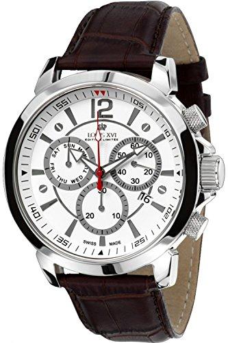 Louis XVI Men's-Watch Athos le Grand l'argent Blanc Swiss Made Chronograph Analog Quartz Leather Brown 561