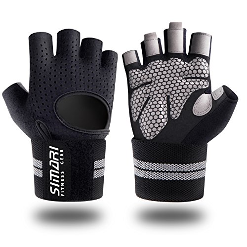 (SIMARI Workout Gloves for Women Men,Training Gloves with Wrist Support for Fitness Exercise Weight Lifting Gym Crossfit,Made of Microfiber and Lycra SMRG902(Black S))