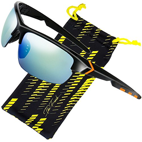 The Fresh Designer Fashion Sports Sunglasses for Baseball Cycling Fishing Golf Superlight Frame (S503-Shiny Black, 3- ()