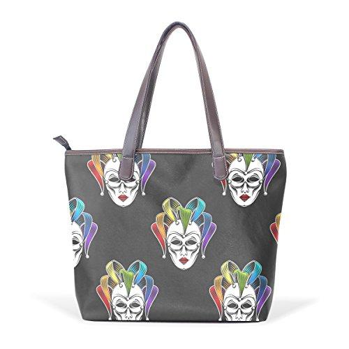 Sunlome Rainbow Venetian Canrnival Mask Pattern Handbags For Women Girls PU Leather Shoulder Tote Bag