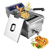 Homgrace Commercial Electric Deep Fryer, Countertop Stainless Steel Electric Deep Fryer with Timer and Drain (13L)