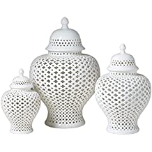 Asian Traditional Chinese White Lattice Ginger Jar With Lid (Small)