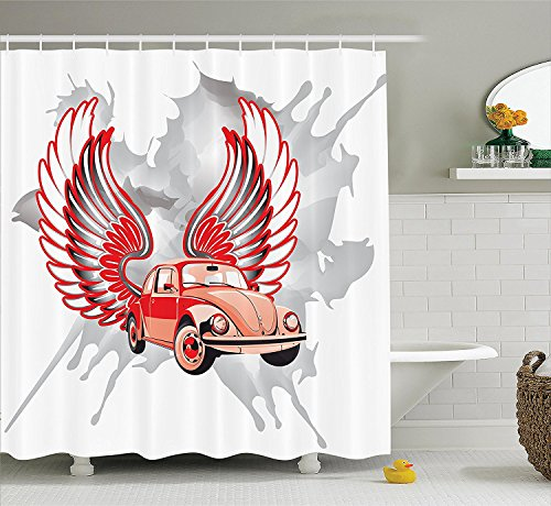 [Cars Decor Shower Curtain Set Hippie Dated Beetle Car with Wings Once Sixties Freedom and Revolution Symbol Icon Boho Print Bathroom Accessories Red] (Beetle Wings Costume)