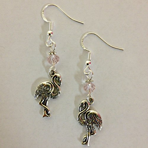 (Pink Flamingo Beach Charm Earrings, accented with pale pink faceted crystal accent bead, on sterling silver earwires)