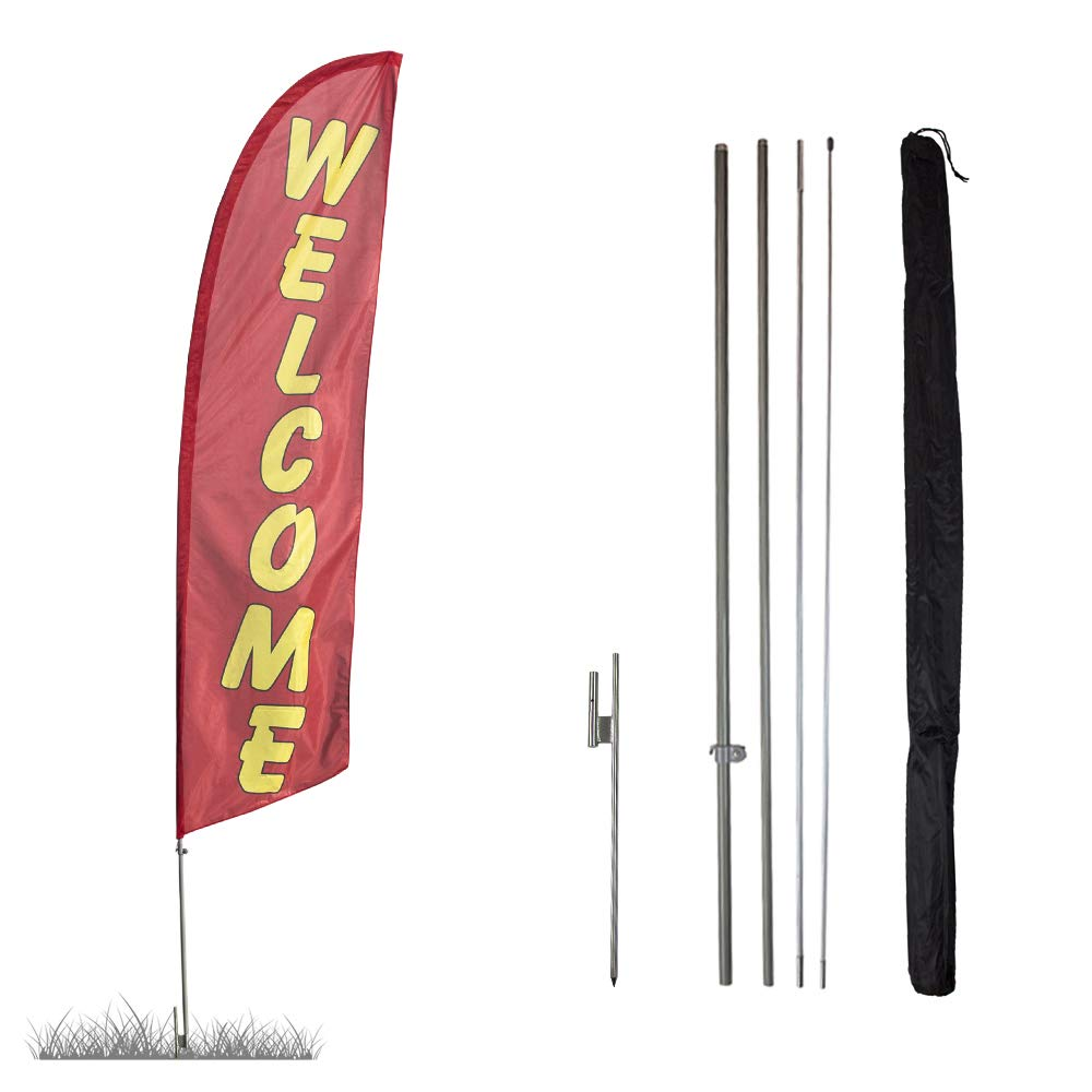Tall swooper feather flag banners for business advertising SOLID YELLOW