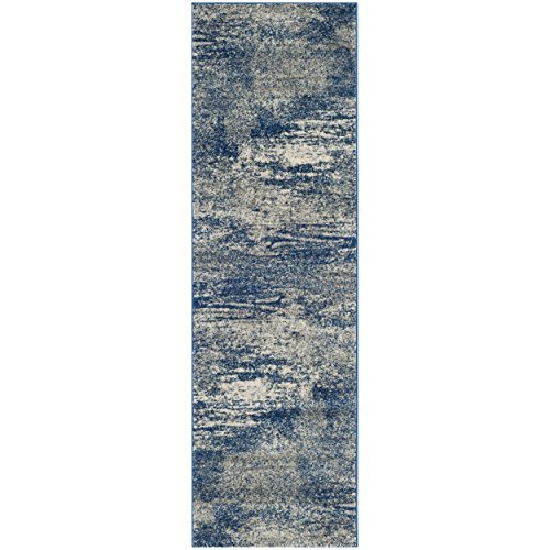 Safavieh Evoke Collection EVK272A Distressed Modern Abstract Navy and Ivory Runner (2'2'' x 11') by Safavieh