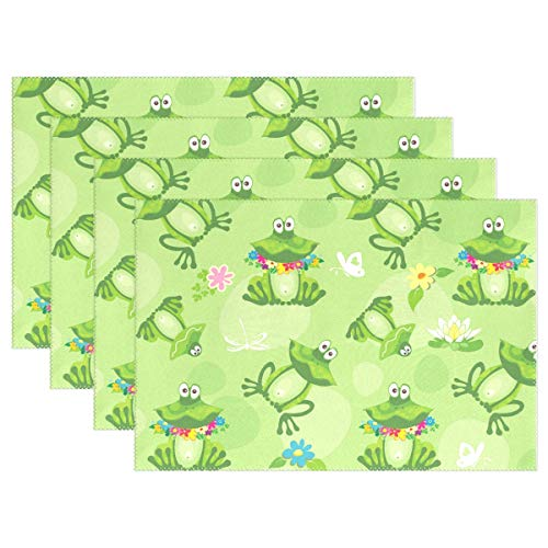 Frog Quilted (ALAZA Frogs Toads Dragonfly Placemats Dining Table Heat Resistant Kitchen Table Decor Washable Table Mats Set of 6)