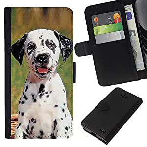 Stuss Case / Funda Carcasa PU de Cuero - Dalmatian Puppy Spots Dog Pet - LG OPTIMUS L90