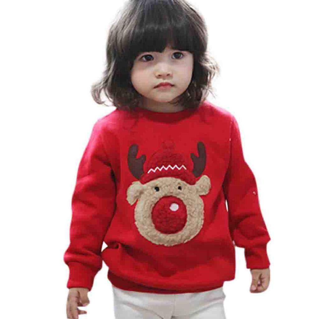 VICGREY ❤ Giacche Bambine Cappotti Bambina Felpa Bambino Bambini Ragazza Lungo Manica Natale Stampa Maglione Pullover Felpa