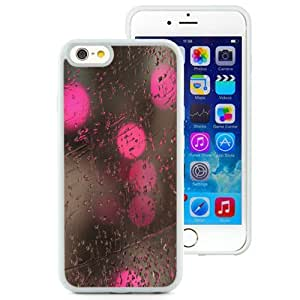 NEW Unique Custom Designed iPhone 6 4.7 Inch TPU Phone Case With Rain On Glass Pink Lights_White Phone Case