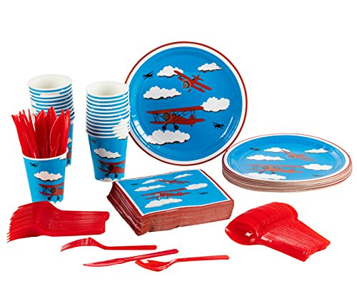 Birthday Party Paper Cups - Disposable Dinnerware Set - Serves 24 - Airplane Party Supplies for Kids Birthdays - Includes Plastic Knives, Spoons, Forks, Paper Plates, Napkins, Cups