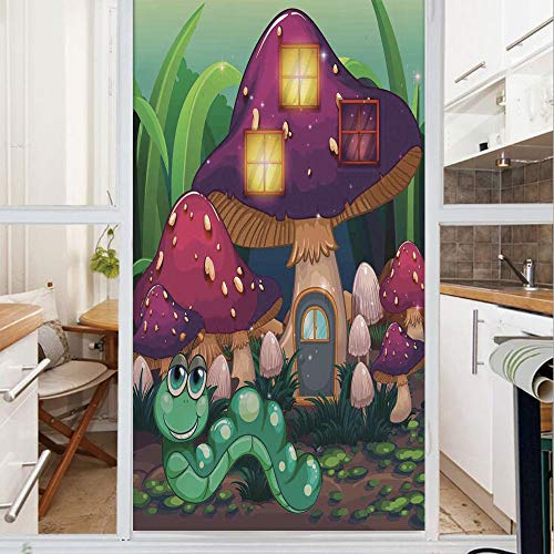 Decorative Window Film,No Glue Frosted Privacy Film,Stained Glass Door Film,Illustration of a Long Worm Near the Mushroom Houses Fictional Cute Little Creatures Image,for Home & Office,23.6In. by 35.4