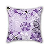 NICEPLW flower throw pillow case 18 x 18 inches / 45 by 45 cm for girls,dance room,kids boys,wife,birthday,boys with two sides
