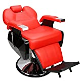 Red Functional Hydraulic Recline Barber Chair Salon Shampoo Styling Seat Height Adjustment w/ Adjustable Head Rest