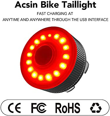 Bike Tail Light USB Rechargeable Powerful 10 Lumens LED Bicycle Red Rear Light