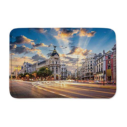 "YOLIYANA Cityscape Door Mat Rug,View of The Streets Modern Madrid with Sky Landscape Big Old Town Heritage Deco for Kitchen Bathroom Outdoor,23"" L x 15"" W"