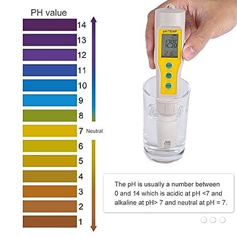 Medidor de pH comprobador de calidad del agua con PH y temperatura pantalla Digital LCD Medidor de pH agua analizador de la pluma para Acuario Piscina vino: ...
