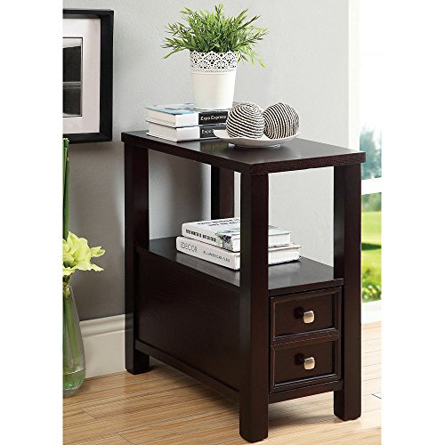 Modern Narrow Nightstand Side Table Wooden Espresso Wenge with Storage Drawer - Includes Modhaus Living Pen (Slim Bedside)