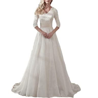 Liliesdresses Women s Simple White Lace Wedding Gown Waist 3 4 Sleeves Bridal  Gown Chiffon Elegant 604c224f79