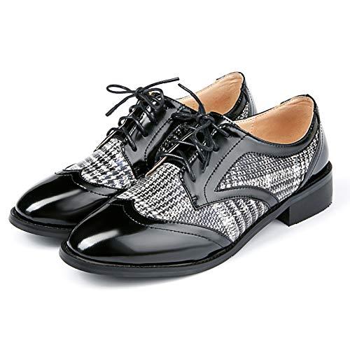 Cordones Hecho Mujer Mano College Nincyee para de a Brogues Cuero Negro Derby Vintage Zapatos HnqUZF