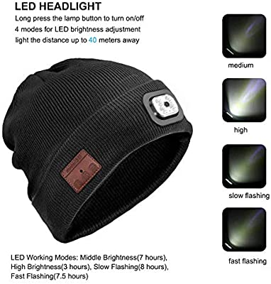 a6004d04e Bestfire Wireless Bluetooth Beanie Hat with LED Headlamp USB ...