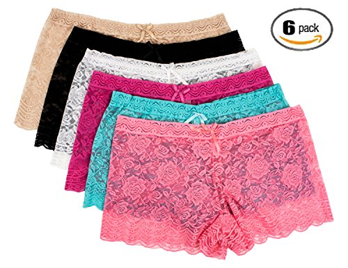 Barbra's 6 Pack of Women's Plus Size Lace Boyshort Panties (5XL)