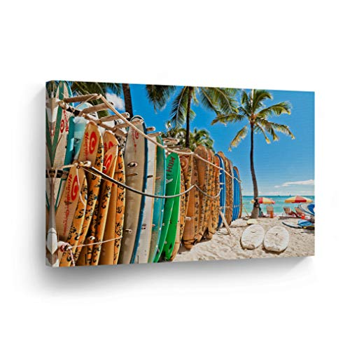Beach View Wall Art Colorful Surfboards with Palm Trees Tropical Canvas Print California Home Decor Artwork Gallery Wrapped Wood Stretched and Ready to Hang - %100 Handmade in the USA - 8x12