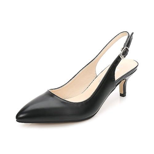 f562172842b OCHENTA Womens Pointed Toe Slingback Dress Court Shoes Kitten Heel Pumps PU  Black 35 EU
