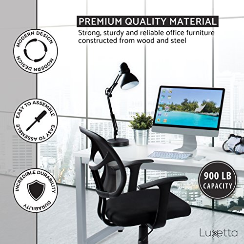 "Office Computer Desk – 55"" White Laminated Wooden Particleboard Table and Gray Powder Coated Steel Frame - Work or Home – Easy Assembly - Tools and Instructions Included – by Luxxetta"