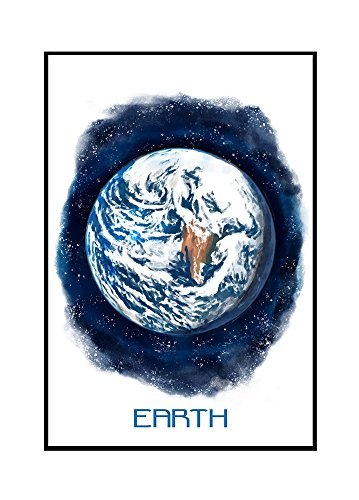 Earth - Watercolor (16x24 Framed Gallery Wrapped Stretched Canvas) by Lantern Press