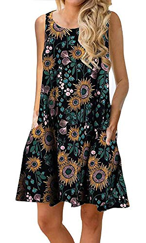 Silvous Casual Tshirt Dress Boho Sleeveless Floral Print Sundresses (Green Black S)