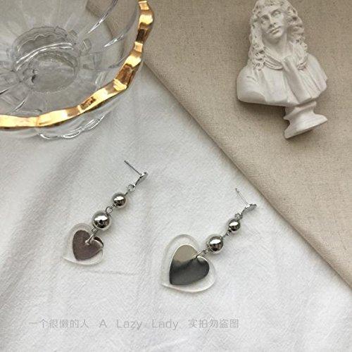 Custom Shaped Acrylic - usongs A lazy man love custom vintage crystal clear acrylic multi-layered asymmetric heart-shaped earrings earrings