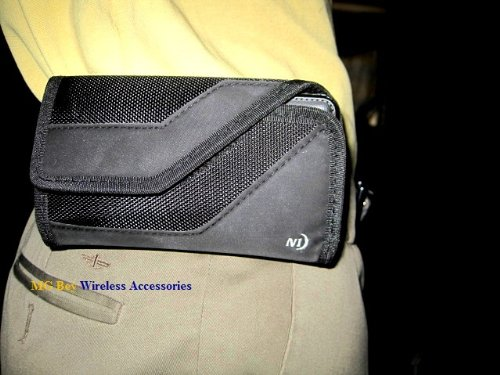 Nite Ize Black Sideways Horizontal Rugged Heavy Duty X-large Holster Pouch W/Durable Fixed Belt Clip Fits T-mobile / Metro Pcs Kyocera Hydro Wave